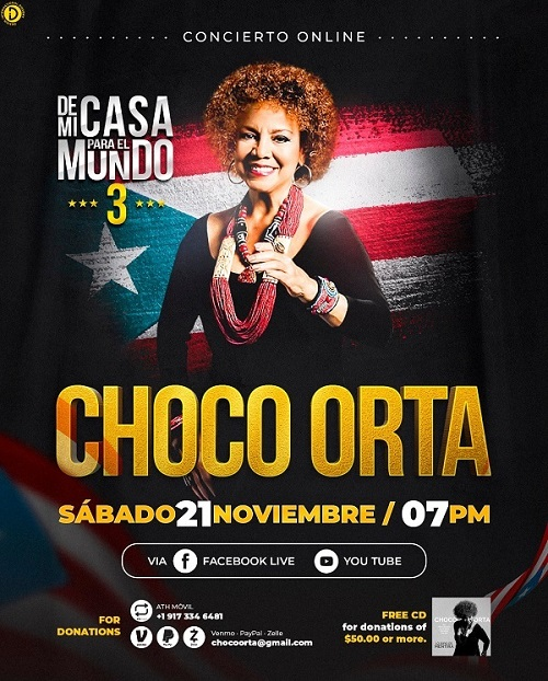 Choco Orta, virtual concert, Saturday November 21st 7pm. From My Home to the World 3