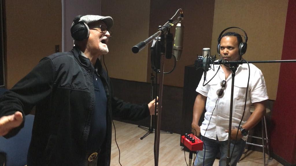 Paquito Guzmán and Daniel Peña in a studio