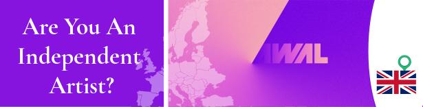 Estandarte morado y rosa con el logo actual de AWAL
