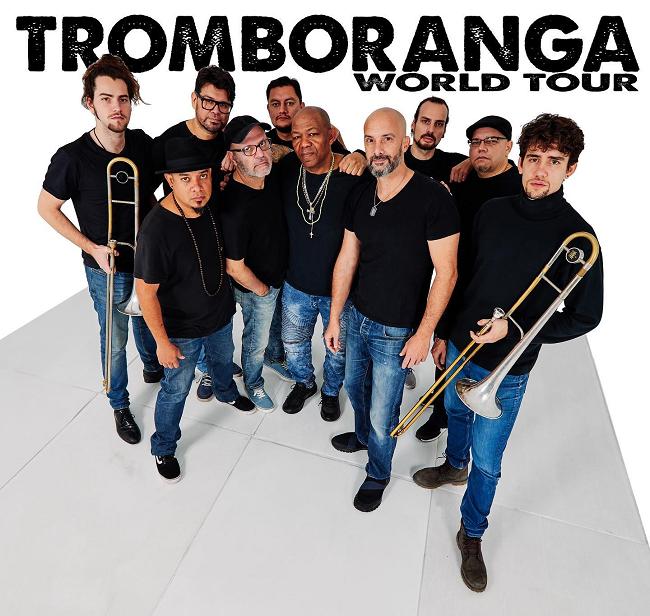 The members of Tromboranga with black shirts