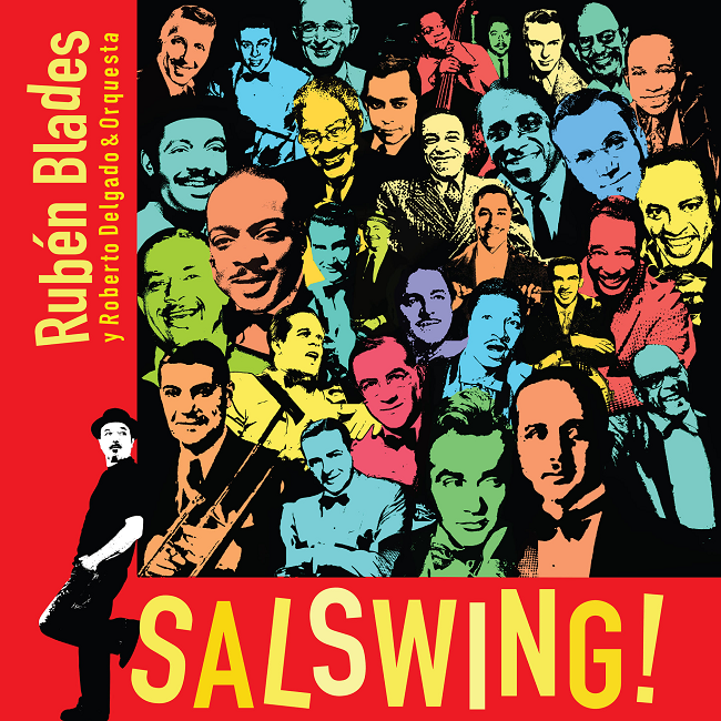 Digital album cover Salswing! in red background and yellow letters