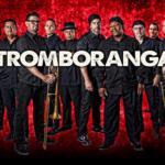 Tromboranga members dressed in black with red background