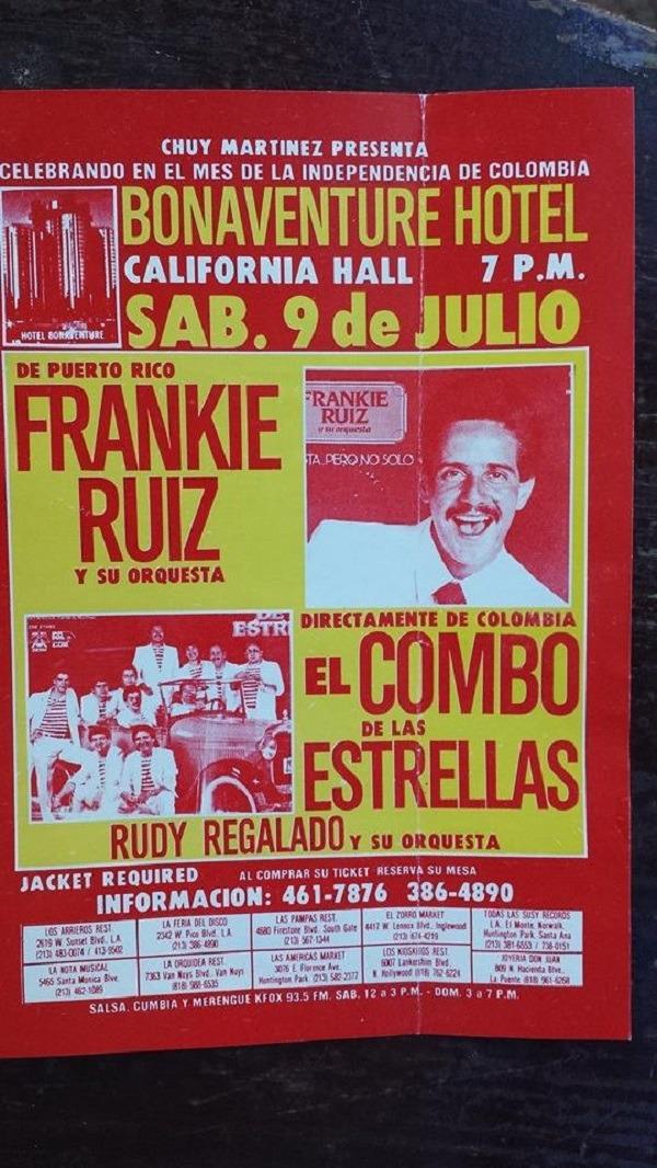 Poster announcing Frankie Ruiz's concert
